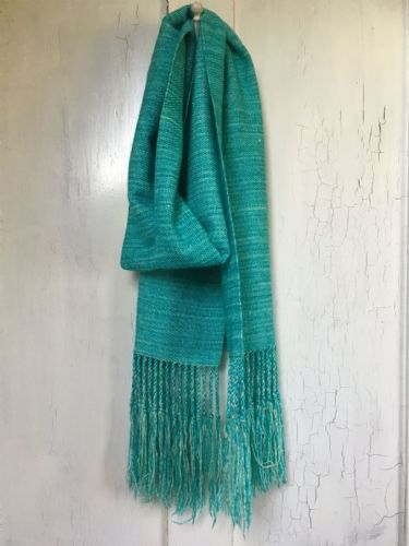 Hand Woven Silky Merino Turquoise Scarf.